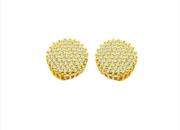 Brinco Ouro amarelo e  Brilhantes - Coleção Luna