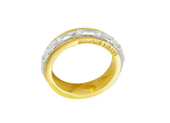 Aliança ouro amarelo,ouro branco 18k e  brilhantes
