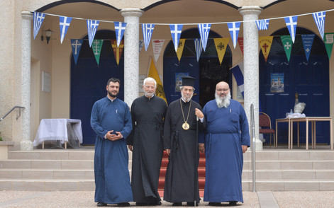 Archdeacon Nicholas, Fr Konstantinos Kostakos of St Dimitrios, His Grace Bishop Serpahim, Fr Petros Kipouros of St Nicholas,