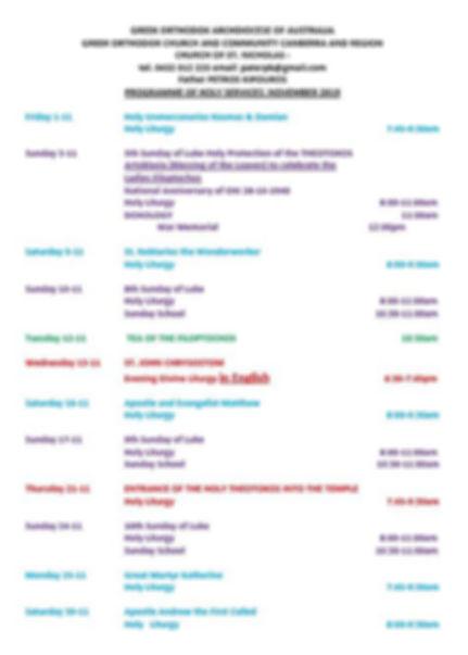 Church Programme - November 2019 (Englis