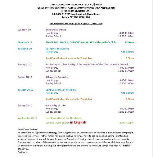 Church Programme - October 2020 (English