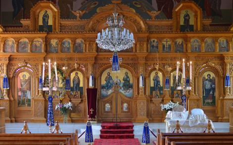 Iconostasis with festive decorations