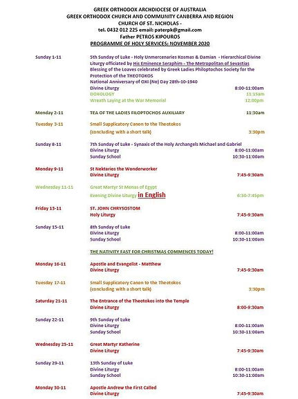 Church Programme - November 2020 (Englis