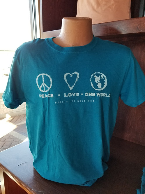 Peace Love One World Crew Neck T-shirt