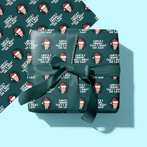 Santa's Coming Christmas Wrapping Paper & Gift Tag