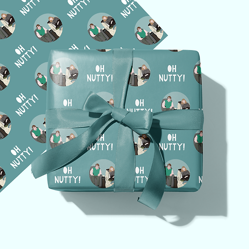 Oh Nutty Gogglebox Wrapping Paper & Gift Tag Set