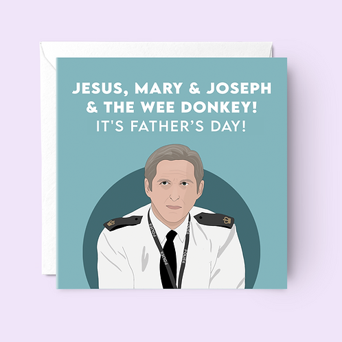 Jesus, Mary & Joseph & The Wee Donkey Father's Day Card