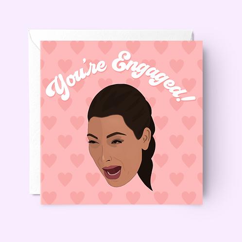 Kim Kardashian Crying Face Engagement Card