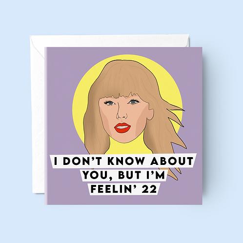Taylor Swift 22 Birthday Card