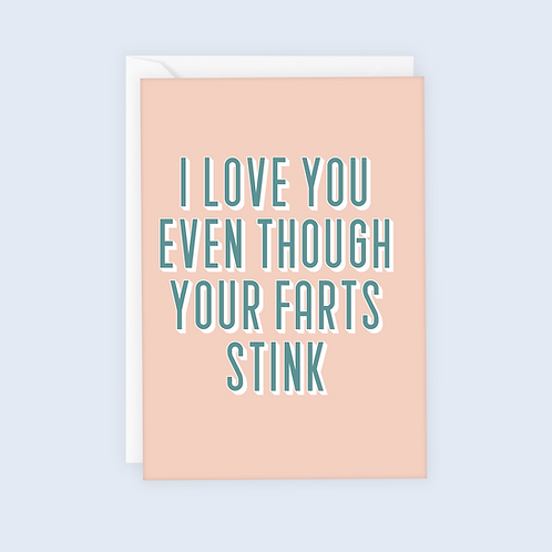 I Love You Even Though Your Farts Stink Valentine's Card