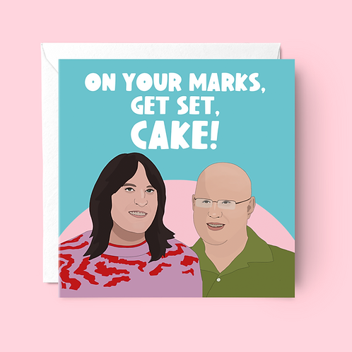 On Your Marks Get Set Cake Birthday Card