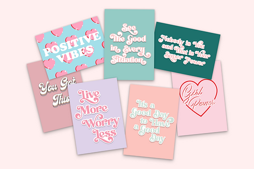Pack of 7 Positivity Postcards
