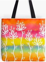 Tropical Flower Sunrise tote bag by Erin Kant Barnard