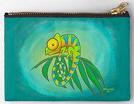 Colorful Chameleon zipper pouch by Erin Kant Barnard