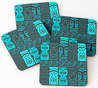 Turquoise Tikis coasters by Erin Kant Barnard