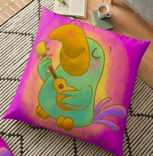 Harmony Ukulele Bird floor pillow by Erin Kant Barnard