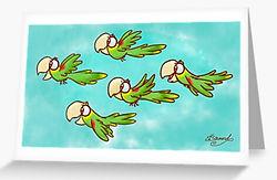 Double Yellow-Headed Amazon Parrot Pandemonium greeting card by Erin Kant Barnard