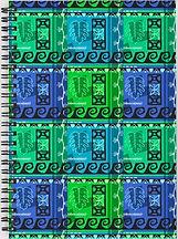 Marine-Colored Hawaiian Pattern Spiral Notebook by Erin Kant Barnard