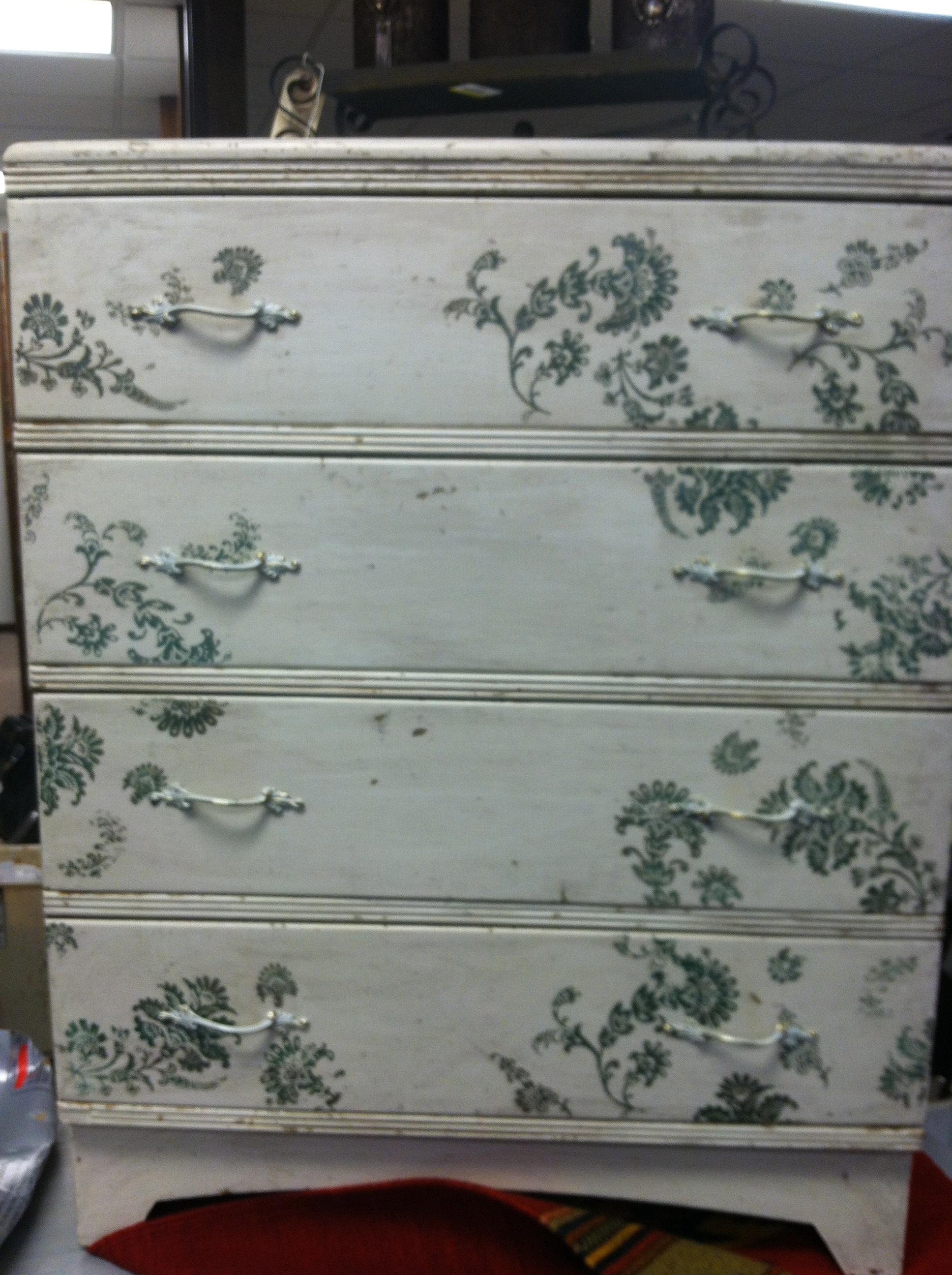 Old dresser with stencil