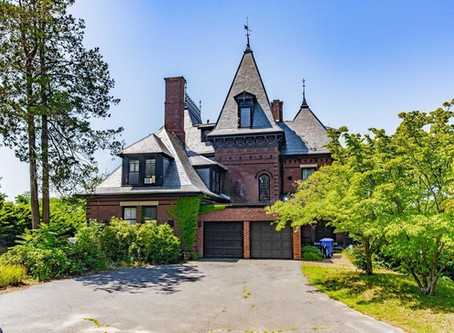 1874 MA Mansion With 8 Bedrooms, Grand Woodwork, Pool, And Stained Glass Ceiling Lists At $339K