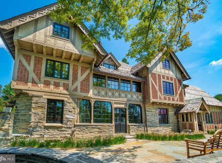 1925 Pennsylvania Tudor With Cathedral Like Interior Complete With Stained Glass Lists for $2.1 Mill