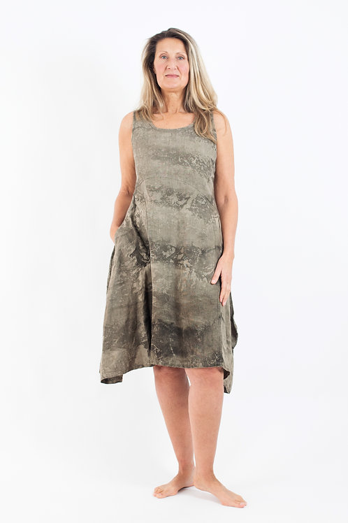 Sleeveless Hemp Dress with scooped hemline and curved pocket detail