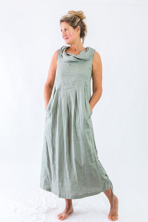 Eden: Maxi cowlneck box pleat linen dress