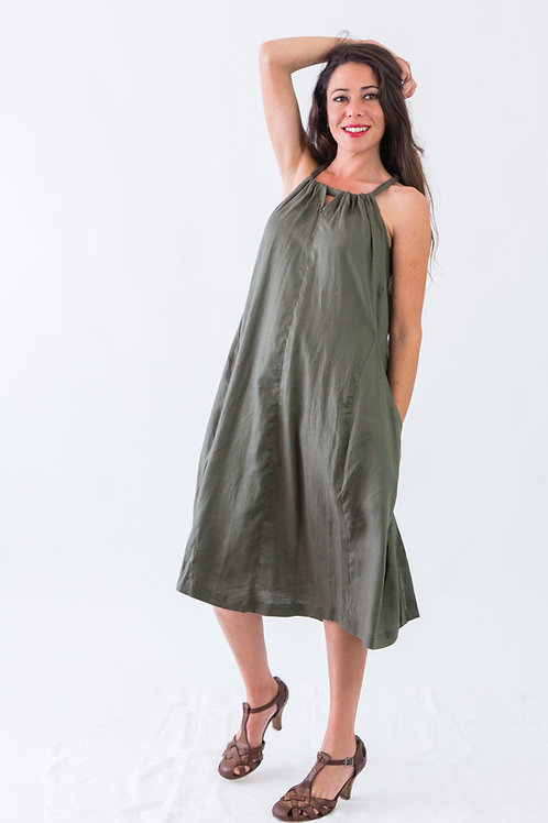 Island: Halterneck loose linen dress