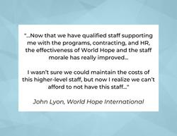 Testimonial from John Lyon, World Hope International