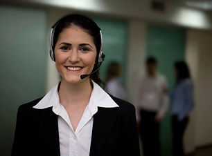Professional business woman on call headset
