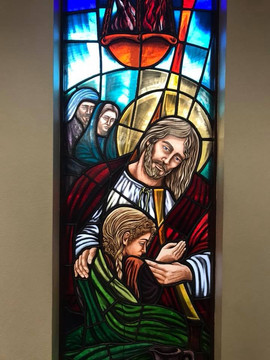 Anointing of the Sick Stained Glass Window