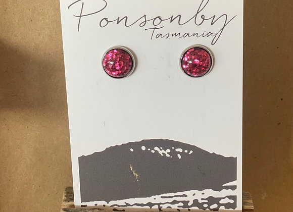 Handmade Studs - Sparkly Pink in silver