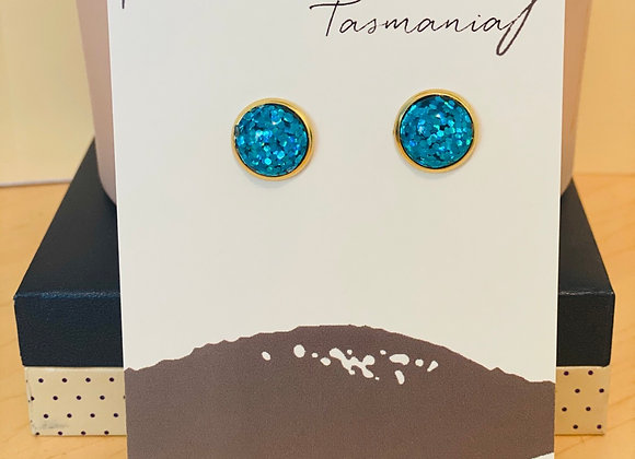 Handmade Studs - Sparkly Blue