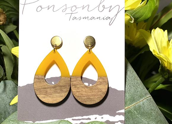 Gold w/ Yellow & Wood Tear Drops