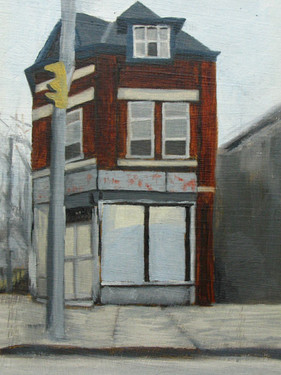 """""""Convenience Store"""", oil on paper"""