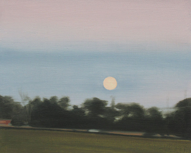 """""""Driving With The Moon"""" oil on wood 8 x 10 inches  SOLD"""