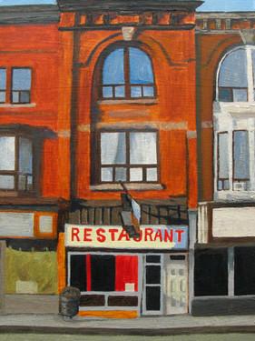 """""""Skyline Restaurant"""", oil on paper"""