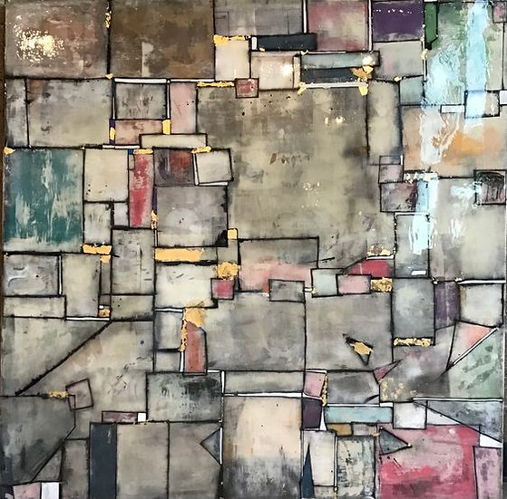 MAPPOINT · 4'x4' Mixed Media on Wood Panel - Framed