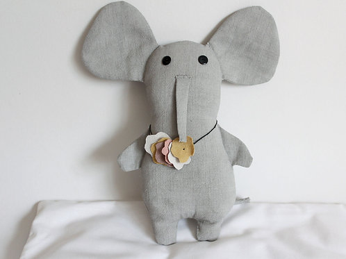 Big Gray Elephant With Necklace