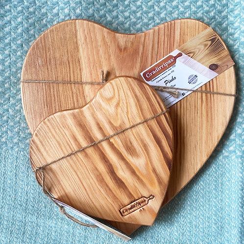 Tábua de servir pinho Coração