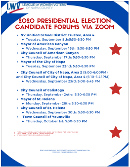 Candidate Forum Schedule Set