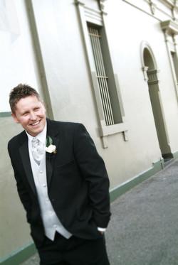 Noosa wedding groom laughing