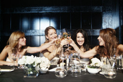 bride and bridesmaids during a toast