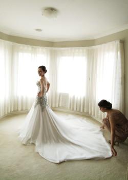 Noosa wedding bride in ornate dress