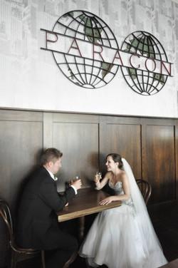Noosa bride and groom drinking