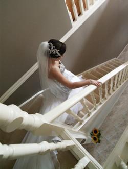 Noosa bride walking down staircase