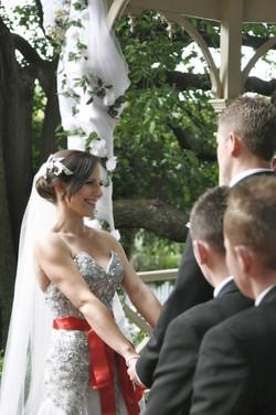 Noosa wedding bride smiling at groom