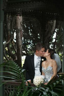 Noosa wedding bride and groom kiss