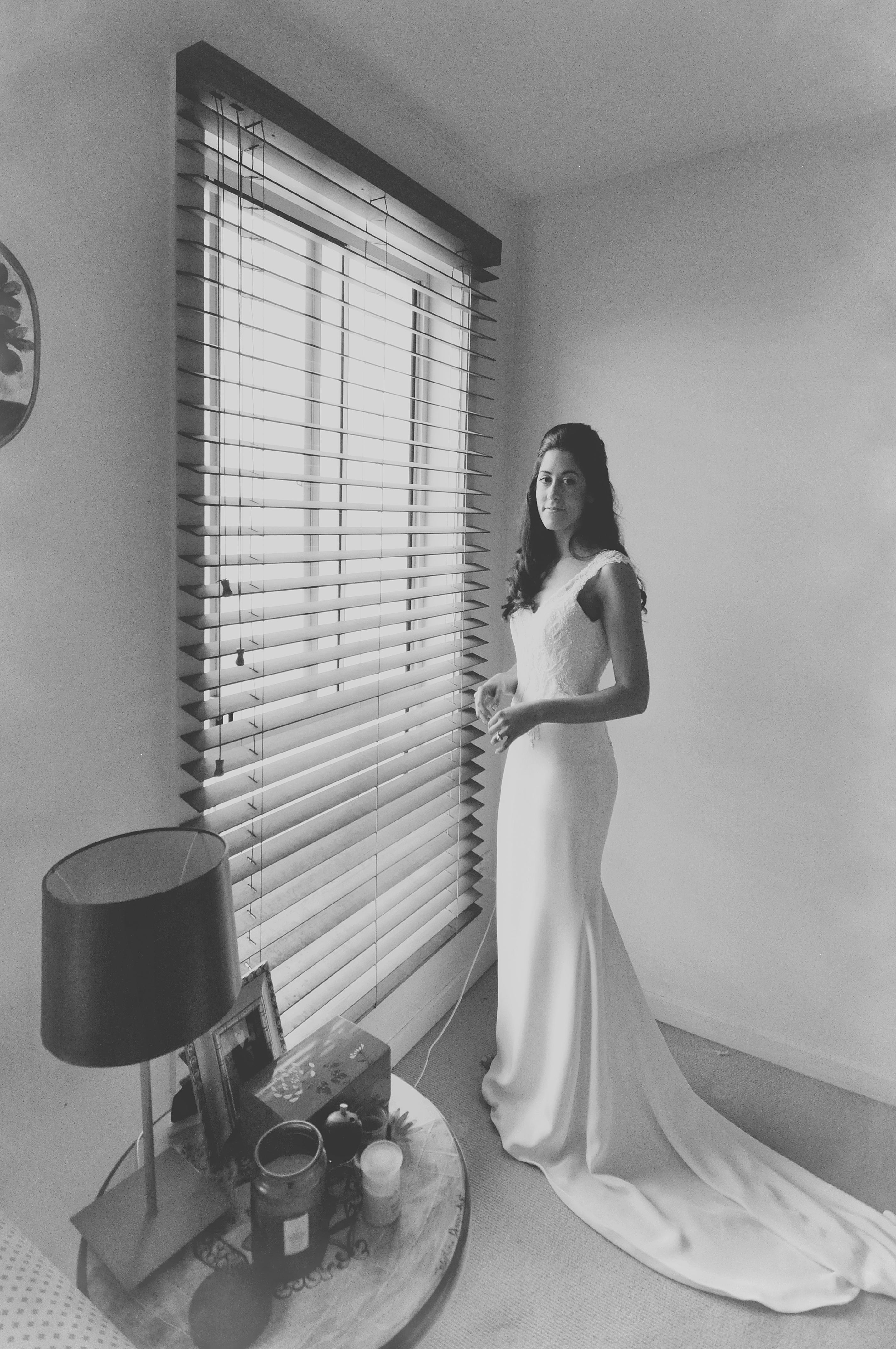 Noosa wedding bride at window