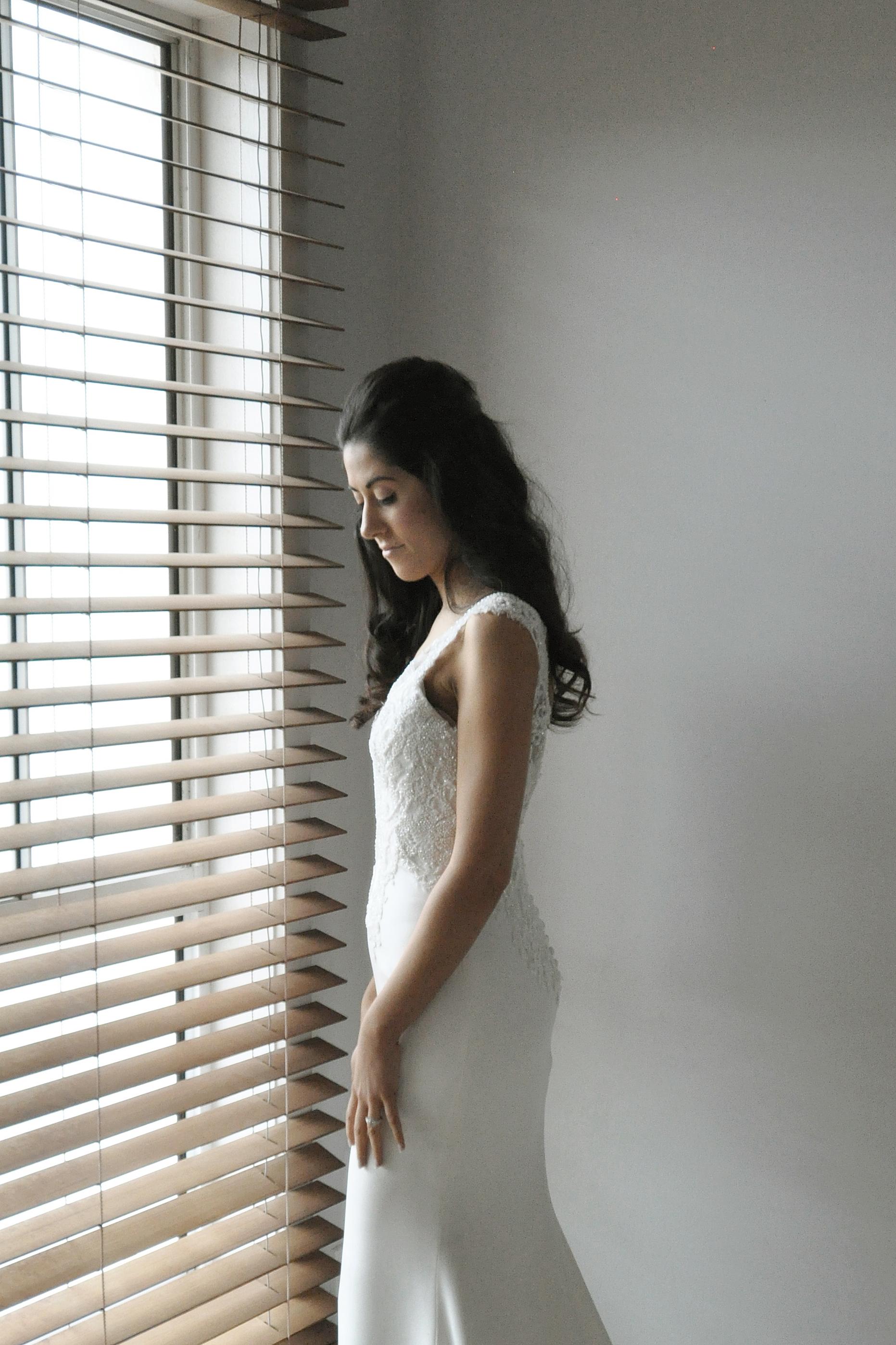 Noosa wedding bride by window